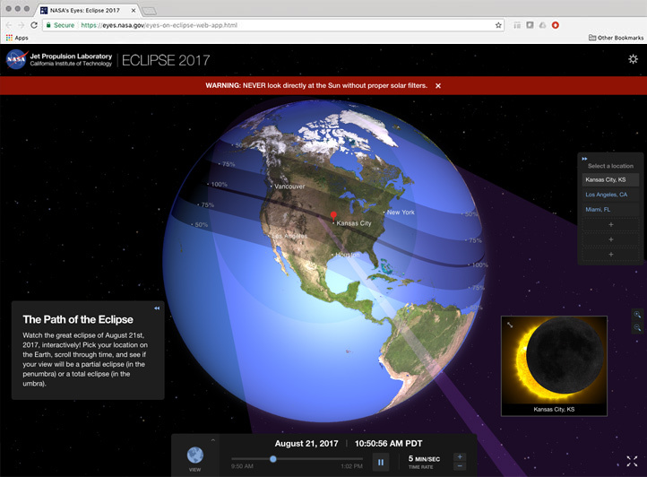 Capture d'écran de la nouvelle application Eye Eclipse basée sur le Web.